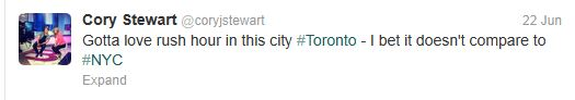 This tweet will be sorted into the #Toronto conversations, as well as the #NYC conversations.