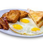 Breakfast, fried eggs, toast, bacon